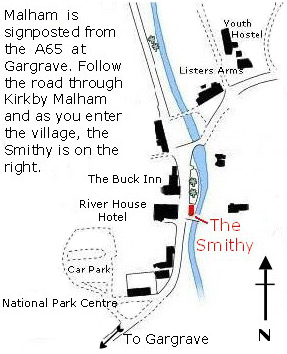 Map of Malham showing the location of the smithy