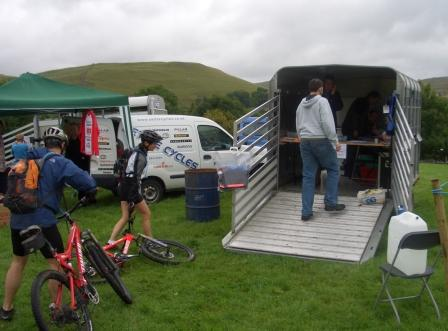 Malham Show, Yorkshire Dales, Trailquest Mountain Bike Race Headquarters and Entries - Yes its a Sheep Trailer!